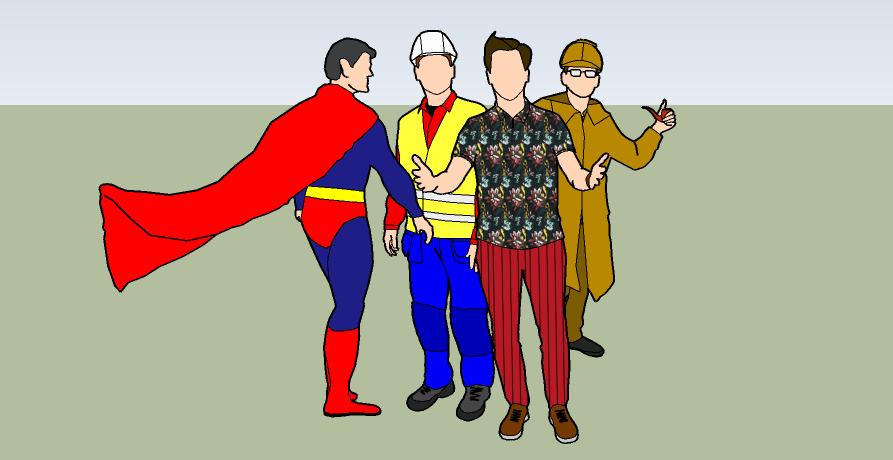 Visar en grupp med kända karaktärer som har olika egenskaper